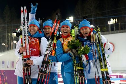 Sochi biathlon relay silver medallists Yana Romanova, Olga Zaitseva, Ekaterina Shumilova and Olga Vilukhina. Romanova and Vilukhina were among athletes later banned from competing for life by the IOC.