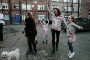 Campaigners celebrate at the New Era housing estate, Hoxton, east London.