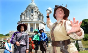 Impressive swordplay … Lucy Jane Parkinson, right, in The Three Musketeers at Williamson Park, Lancaster.