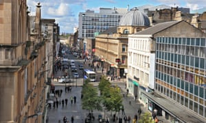 View looking west along Sauchiehall Street, Glasgow.