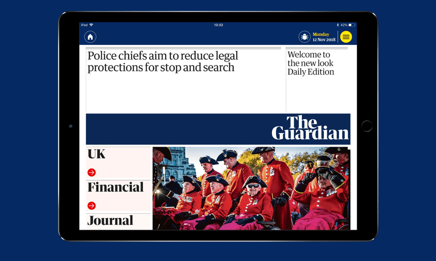 The Guardian's daily edition for iPad, which is available as part if our digital pack subscription.