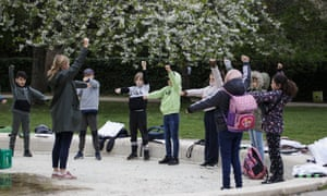 An outdoor class at a school in Copenhagen. Denmark was the first country in Europe to reopen its schools for the youngest pupils on 15 April.