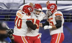 Patrick Mahomes celebrates his opening touchdown for the Kansas City Chiefs against the Baltimore Ravens