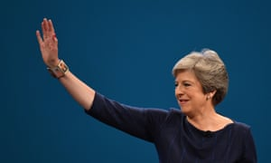 Theresa May waves to delegates after her 2017 Tory conference speech.