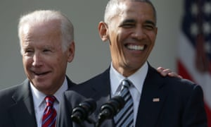 Biden and Barack Obama in the White House Rose Garden in November 2016.