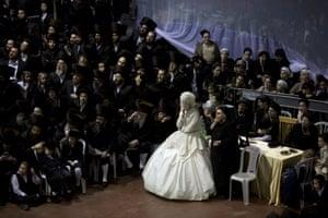 The ultra-Orthodox Jewish wedding between the grandson of the rabbi of the Tzanz Hasidic dynasty and the granddaughter of the leader of the Toldos Avraham Yitzchak Hasidic dynasty, in Netanya, Israel.