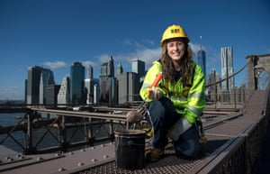 Elisangela Oliveira is a bridge painter for the New York City department of transportation. 'I've been doing this for 18 years, since I was 19 years old. I started out in an apprenticeship program with the Bridge Painters Union, Local 806. After three years as an apprentice, I became a journeywoman, and then a forewoman.' All Photographs by Deanne Fitzmaurice