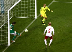 Harry Arter of Ireland clears the ball off of the line.