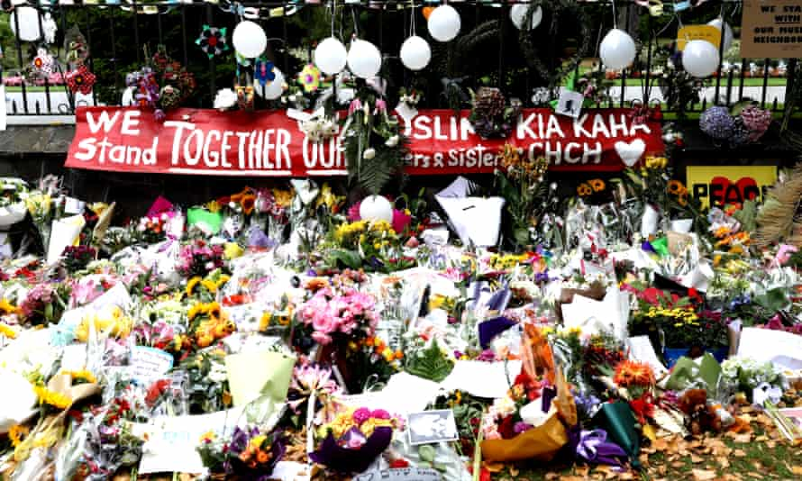 Flowers and tributes are laid at the Botanic Gardens on March 18, 2019 in Christchurch, New Zealand