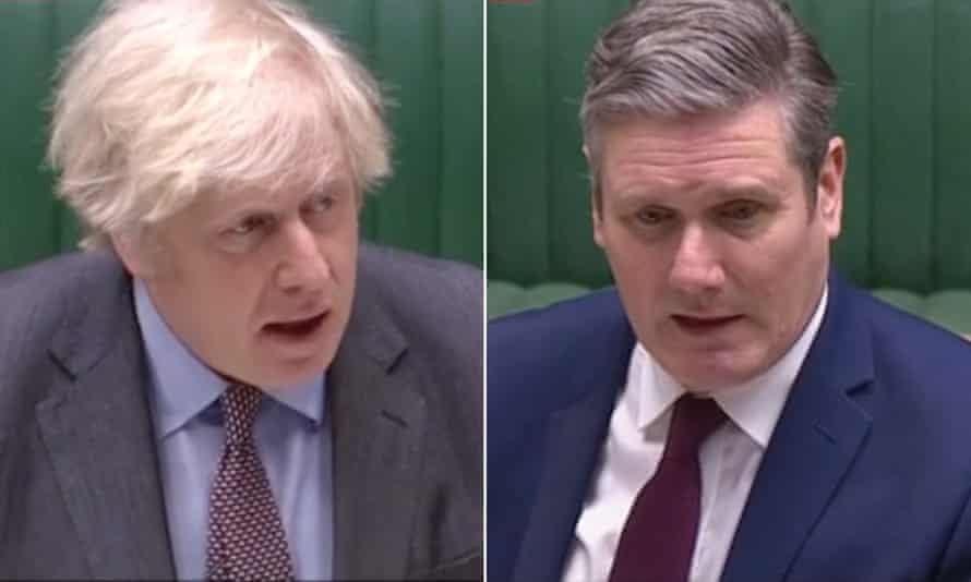 Boris Johnson and Keir Starmer at PMQs.