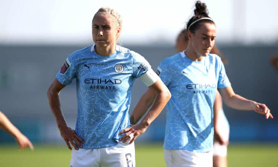 Manchester City's Steph Houghton (left) and Lucy Bronze look unimpressed by the result in their Women's Super League match against Brighton.