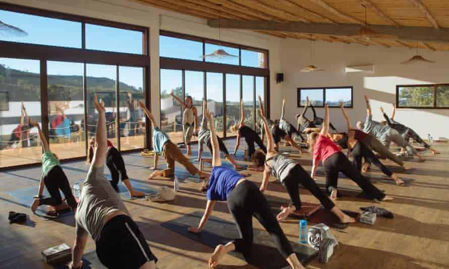 A yoga class in full swing at Wild View Retreat, Portugal