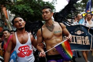 Participants at the LGBT pride parade in Taipei, Taiwan, 2016