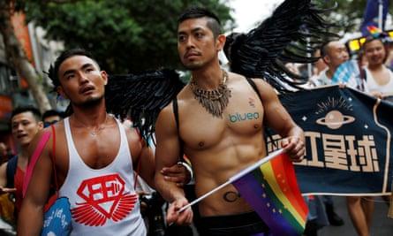 Participants in Taipei's gay pride parade on Saturday.