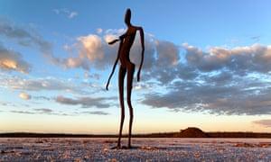 Sculpture by Antony Gormley, Inside Australia exhibition, on Lake Ballard