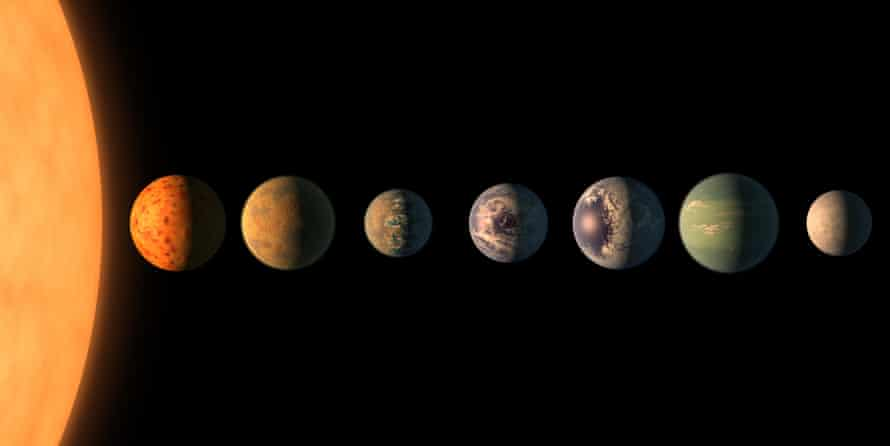 This artist's concept shows what the Trappist-1 planetary system may look like, based on available data about the planets' diameters, masses and distances from the host star.