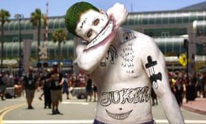 A Joker impersonator at Comic-Con