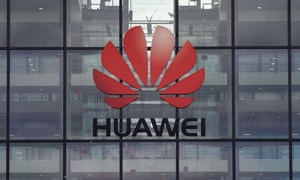 The Huawei logo and signage at their main UK offices in Reading