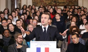 France's president, Emmanuel Macron, unveils his strategy to promote French around the world.