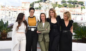Director Celine Sciamma, centre, with the stars of her Palme d'Or-tipped film Portrait of a Woman on Fire, Luana Bajrami, Noemie Merlant, Adele Haenel and Valeria Golino.