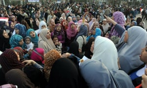 Egyptian women gather during a demonstration in Cairo's Tahrir Square in 2011.