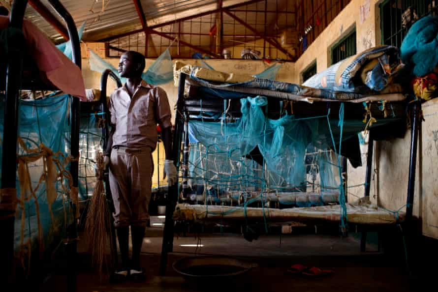 Young boys clean their dormitories in the Wau Juvenile facility for young offenders in Wau, South Sudan