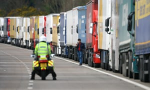 Lorries in a queue to cross the Channel during Operation Stack on the M20 near Ashford in Kent.