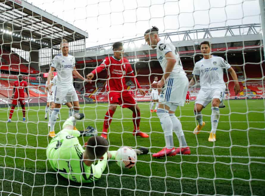 The Leeds goalkeeper, llan Meslier, cannot stop Virgil van Dijk scoring Liverpool's second goal after the captain was left totally unmarked