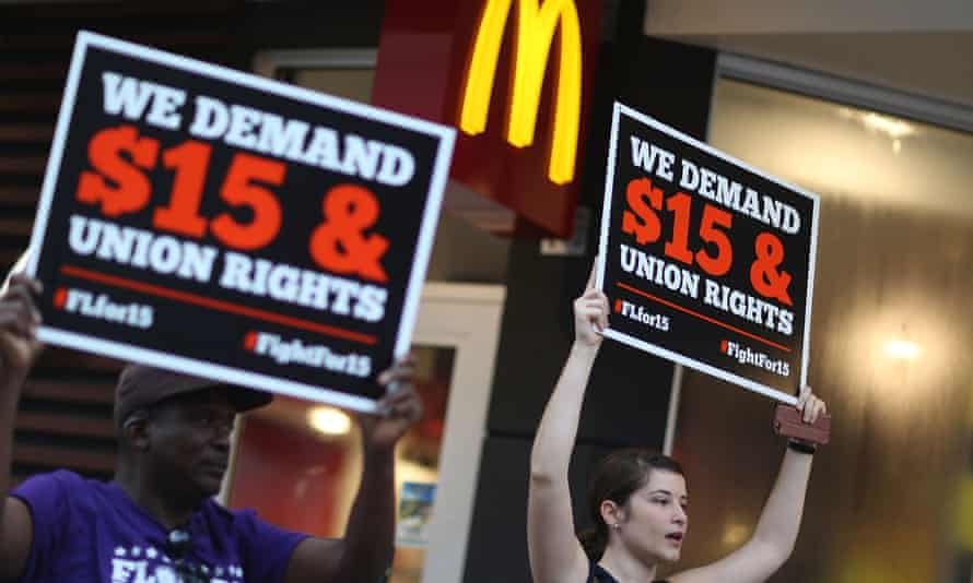 Workers protest for more money outside a McDonald's in Miami, Florida.