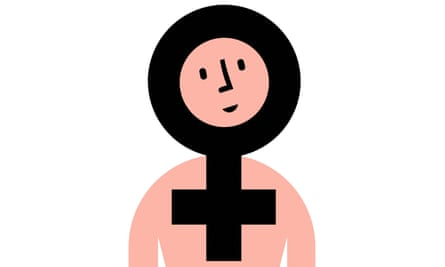 Illustration of pink-skinned woman with circle and cross female symbol round head
