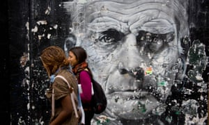 Samuel Beckett mural in London's Notting Hill.<br>