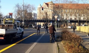 The bicycle lane widens in Berlin