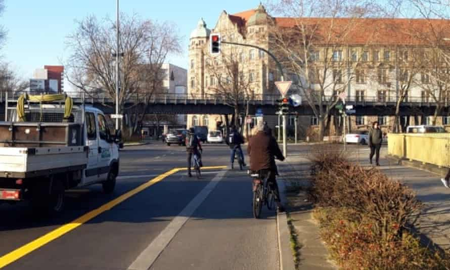 Widened cycle lane in Berlin