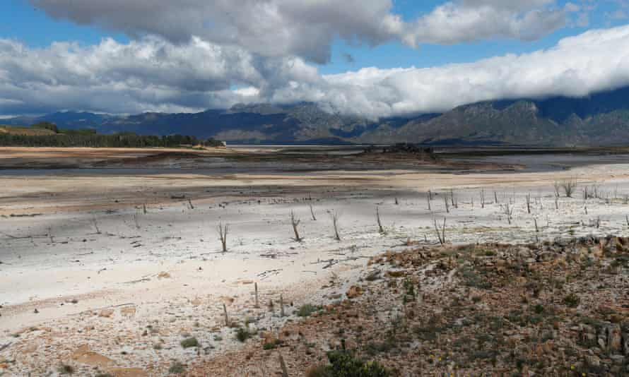 The critically low Theewaterskloof dam in Villiersdorp.