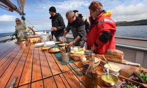 All hands on deck: lunch off the island of Lunga
