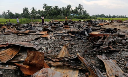 The ruins of a market that was burned to the ground are seen at a Rohingya village outside Maugndaw in Myanmar's Rakhine state