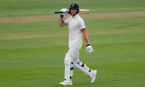 Ben Stokes walks back to the pavilion after being dismissed for 43 on day two at the Ageas Bowl.