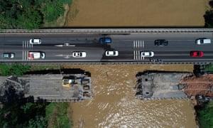 The collapsed Cevizdere transportation bridge after flash floods hit Ordu, Turkey