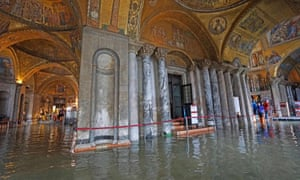 The Basilica of San Marco flooded during high water in Venice at the beginning of November
