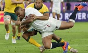 Kyle Sinckler scores a try for England against Australia in the World Cup quarter-final. Harlequins will not be properly rewarded if he leaves in January.