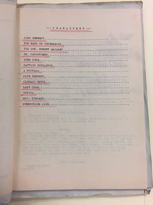 Character list for Edith Wharton's typescript draft