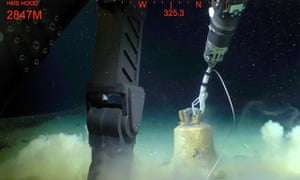 The bell from HMS Hood is lifted from the ocean floor by an expedition led by Microsoft's Paul Allen.