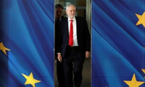 Jeremy Corbyn and the EU's Brexit negotiator Michel Barnier in Brussels