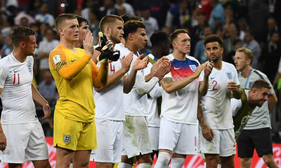 England players applaud their supporters after the extra-time defeat to Croatia in Moscow.