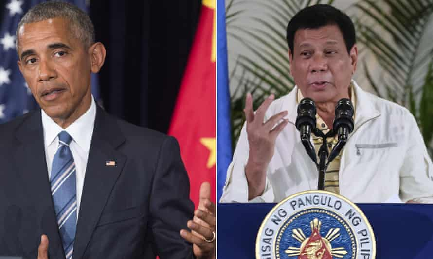 Composite image of Barack Obama and Rodrigo Duterte. The Philippine president has repeatedly called his US counterpart a 'son of a whore'.