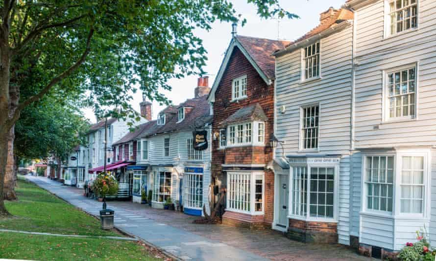 Row of wooden buildings with brick in Tenterden, Kent