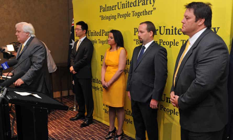 Clive Palmer with Dio Wang, Jacqui Lambie, Ricky Muir and Glenn Lazarus in 2013
