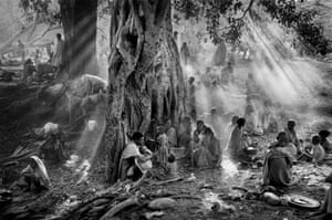 In the early morning, after a night of walking, Tigray refugees hide under trees to avoid the surveillance of Ethiopian government planes. Authorities want to stop the population of Tigray fleeing to Sudan. Ethiopia, 1985.