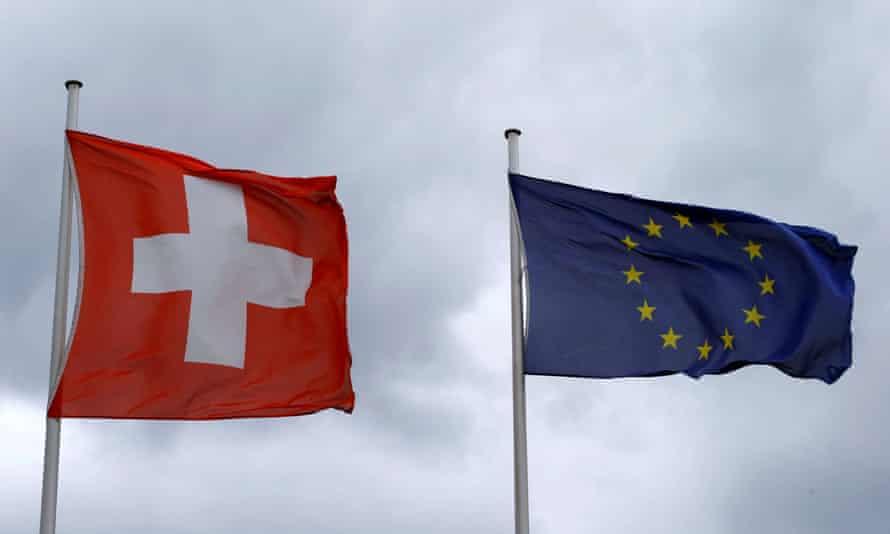 Swiss and EU flags.