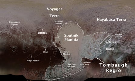 Pluto's first official surface feature names are marked on this map, compiled from images and data gathered by Nasa's New Horizons spacecraft during its flight through the Pluto system in 2015.